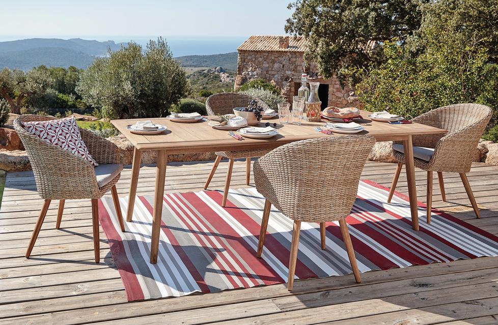 Gartenstuhl aus gewebtem harz und massiver akazie for Dekoartikel aus holland
